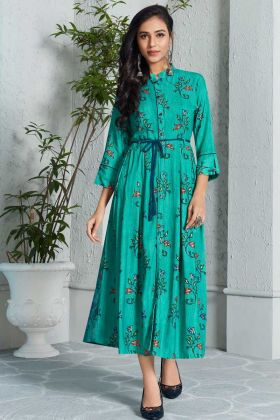 Rayon Kurti Turquoise Blue Color With Printed Work
