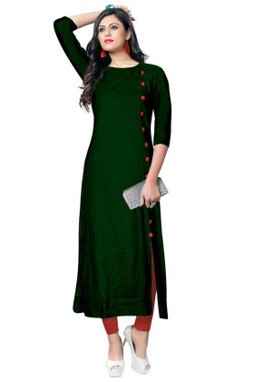 Rayon Long Kurti Buttons Work In Dark Green Color