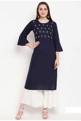 Rayon Navy Blue Rayon Casual Kurti In Resham Embroidery