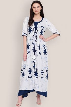 Rayon Off White and Blue Jacket Style Printed Kurti