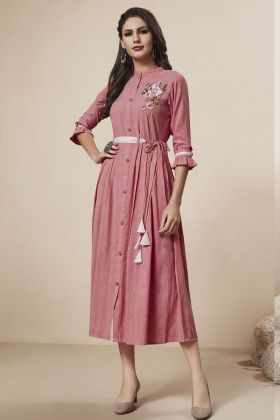 Rayon Onion Pink Fancy Kurti