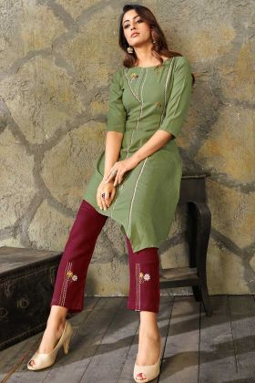 Rayon Party Wear Kurti Olive Green Color With Thread Work