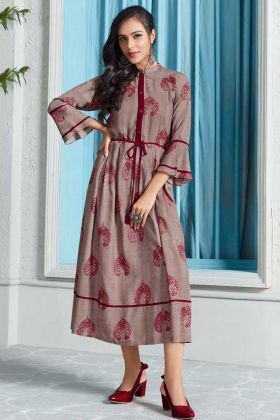 Rayon Party Wear Kurti Printed Work In Grey Color