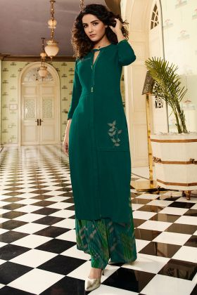 Rayon Party Wear Palazzo Kurti Set Foil Print Work In Teal Green Color