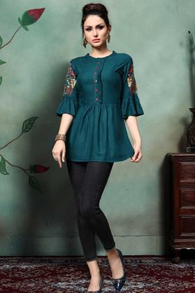 Rayon Party Wear Tops Teal Blue Color With Thread Embroidery Work