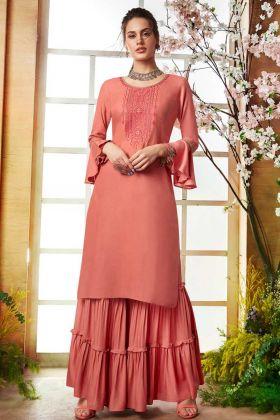 Rayon Peach Designer Sharara kurti