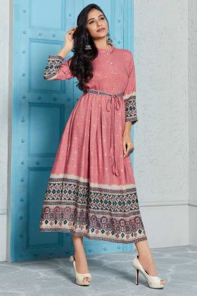 Rayon Printed Kurti Dusty Pink Color