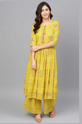 Rayon Printed Pair Kurta And Palazzo In Yellow Color