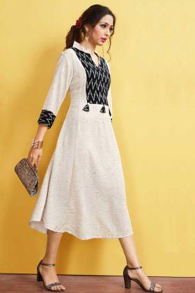 Rayon Slub Designer Kurti Embellishments In Off White Color