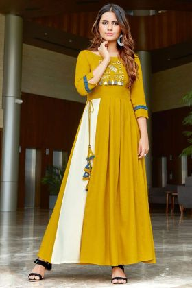 Rayon Slub Designer Kurti Embroidery Work In Golden Yellow Color
