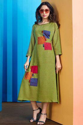 Rayon Slub Designer Kurti Green Color With Embellishments Work