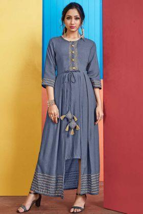 Rayon Slub Fancy Kurti Embellishments Work Blue Color