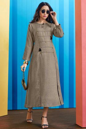 Rayon Slub Fancy Kurti Embellishments Work In Grey Color