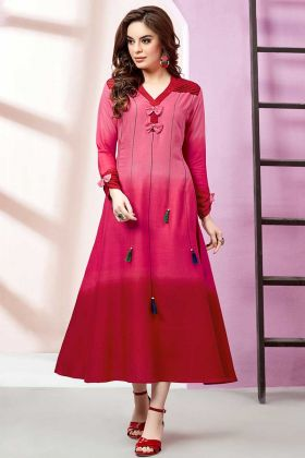 Rayon Slub Kurti Pink and Red Color With Embellishment Work