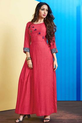 Rayon Slub Long Kurti Embellishments Work In Dark Pink Color