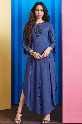 Rayon Slub Stylish Kurti Dark Blue Color With Embellishments Work
