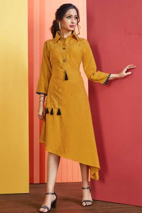 Rayon Slub Stylish Kurti Musturd Yellow Color With Embellishments  Work
