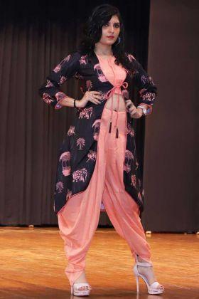 Rayon Stylish Kurti  Peach Color With Dhoti Set For Women