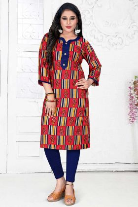 Rayon Stylish Kurti Printed Work In Red Color