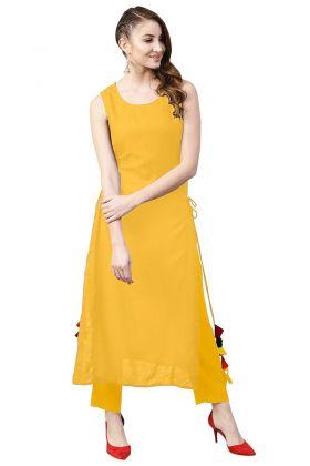 Rayon Stylish Kurti Tassels Work In Yellow Color
