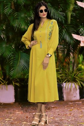 Rayon Stylish Kurti Thread Embroidery Work In Yellow Color