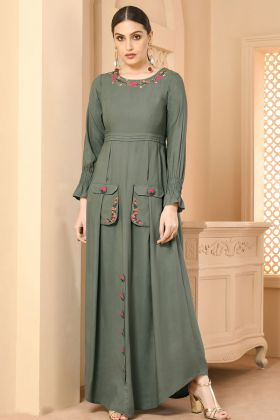 Rayon Teal Grey Stylish Kurti