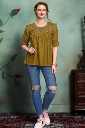 Rayon Tops Thread Embroidery Work In Olive Green Color