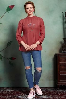 Rayon Tunic Tops Maroon Color With Thread Embroidery Work