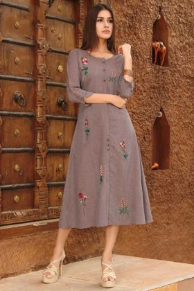 Rayon Viscose Brown Color Anarkali Kurti With Embroidered Work