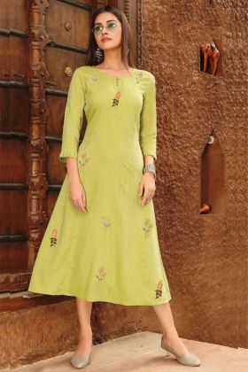 Rayon Viscose GreenYellow Anarkali Kurti With Embroidered Work