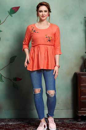 Rayon Western Tops Orange Color With Thread Embroidery Work
