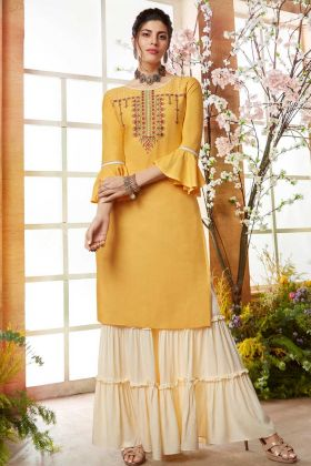 Rayon Yellow Designer Sharara kurti