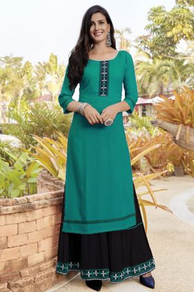 Ready To Regular Wear Rama Color Slub Cotton Kurti Set