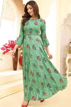 Readymade Anarkali Gown With Sea Green Color Rayon Fabric