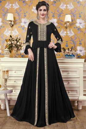Readymade Black Georgette Designer Flared Gown