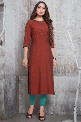 Readymade Brown Plain Casual Wear Rayon Kurti