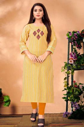 Readymade Cotton Mustard Yellow Kurti