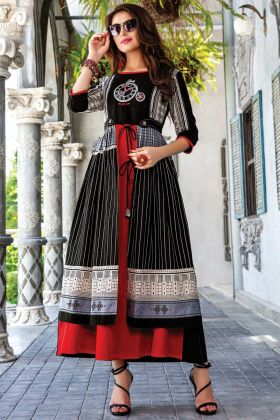 Readymade Designer Black Red Embroidered Work Kurti