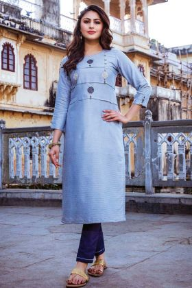 Readymade Designer Light Blue Kurti With Bottom