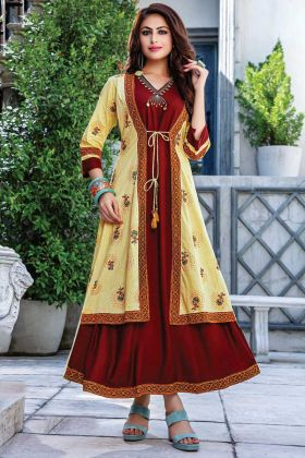 Readymade Designer Maroon Yellow Embroidered Work Kurti