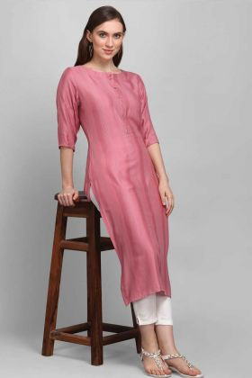 Readymade Dusty Pink Color Rayon Fabric Self Work Kurti