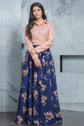 Readymade Dusty Pink Top With Blue Color Crepe Skirt