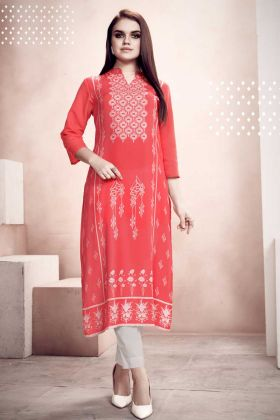 Readymade Kurti For Casual Wear In Red Color