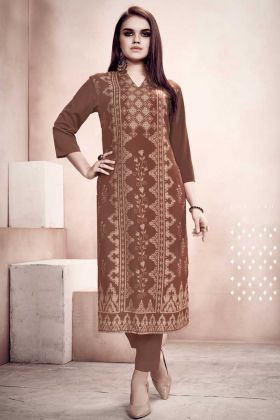Readymade Kurti For Daily Wear In Brown Color