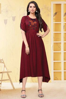 Readymade Maroon Thread Embroidery Party Wear Linen Kurti
