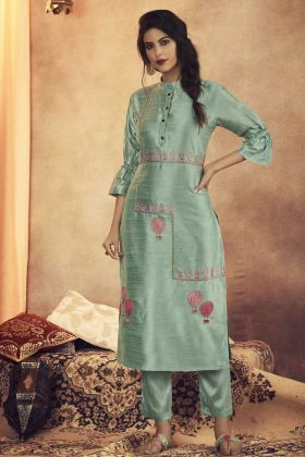 Readymade Pair Of Kurti With Bottom In Baby Blue