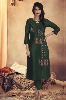 Readymade Pair Of Kurti With Bottom In Dark Green