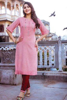 Readymade Pink Kurti With Maroon Bottom