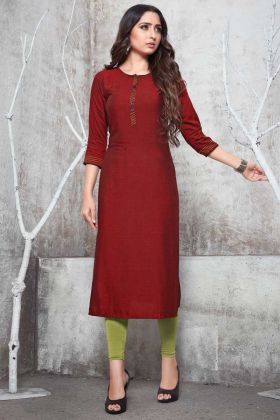 Readymade Plain Straight Cut Kurti In Red