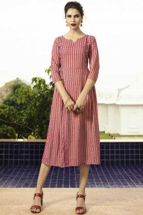 Readymade Printed Rayon Pink A-Line Kurti